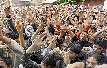 Kashmiri protesters during a protest organised by the Hurriyat Conference in Srinagar