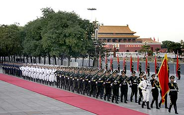 A Chinese honour guard for Pakistan President Asif Ali Zardari in Beijing