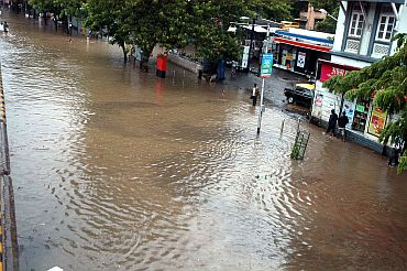 A crowded street in suburban Mumbai. Several low-lying areas were water-logged
