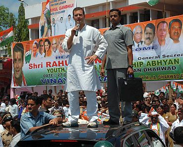 Rahul addresses a rally in Dharwad, Karnataka