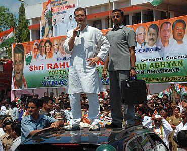Rahul addresses a rally in Dharwad, Karnataka