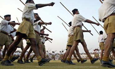 RSS supporters at a camp