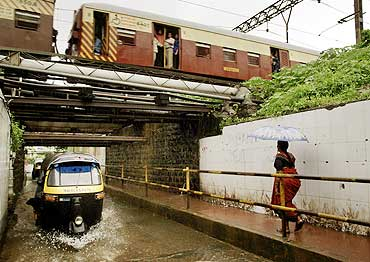 A flooded subway in Mumbai.