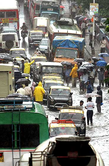 A typical scene during a monsoon in Mumbai