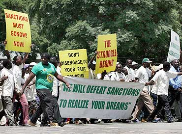 Supporters of the Zimbabwe ruling party protest against European Union's economic sanctions