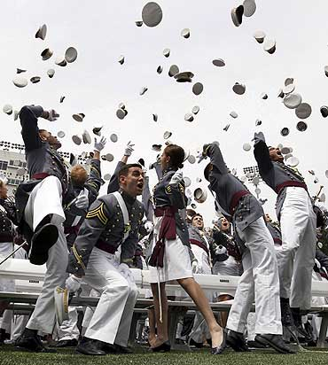 Graduates celebrate at the US Military Academy at West Point
