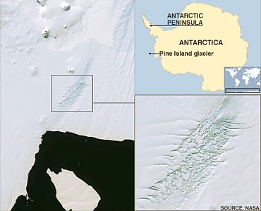 The highlighted area shows a dense concentration of crevasses along one edge of the glacier. Large numbers of deep crevasses are a sign that parts of the glacier are moving rapidly.