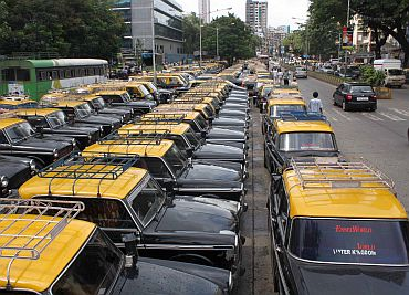 On strike: Taxis at a parking lot