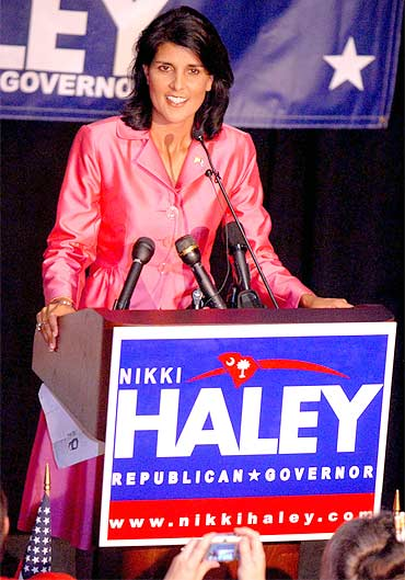 Nikki Haley speaks after her victory on Wednesday