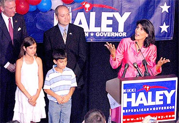 Nikki Haley with her husband and children after her win
