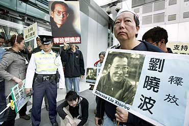 A protester urges for release of Chinese pro-democracy leader Liu Xiaobo in Hong Kong in 2009