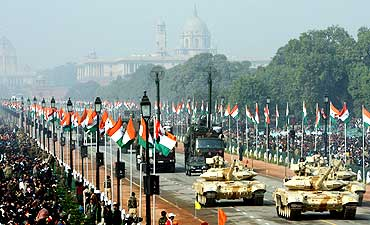 Indian Army's T-90 tanks participate in the Republic Day parade in New Delhi in January 2009