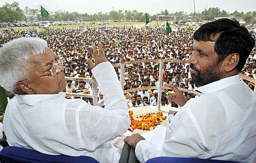 RJD chief Lalu Prasad Yadav with LJP leader Ram Vilas Paswan