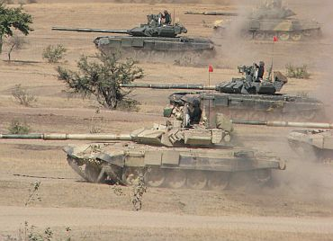 Indian tanks participate in a war game