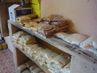 food packets labelled and on display at the shop in Kathewadi