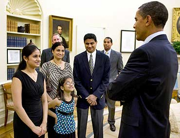 President Barack Obama greets Kavya Shivashankar, and her family   sister, Vanya, and parents, Sandhya and Mirle Shivashankar.