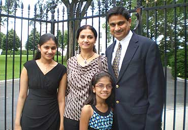The Shivshankar family outside the White House