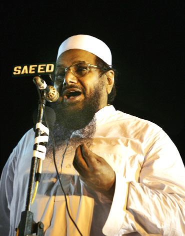 Hafiz Muhammad Saeed, Jamaat-ud Dawa chief and LeT founder addresses a rally in Islamabad