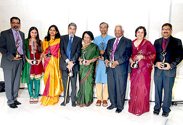 The nine honorees at the 2009 India Abroad Person of the Year awards ceremony