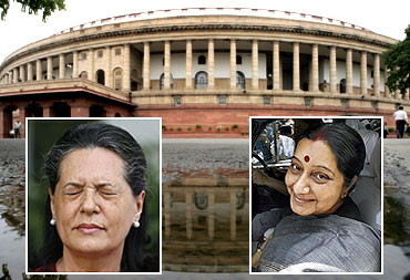 Parliament and (inset) Congress president Sonia Gandhi and Bharatiya Janata Party leader Sushma Swaraj, the two most powerful women in the Lok Sabha