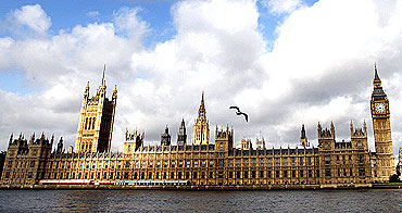 Britain's Houses of Parliament as seen across the river Thames in London