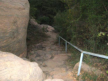The stone-cut staircase near the cave temple in Yaanaimalai