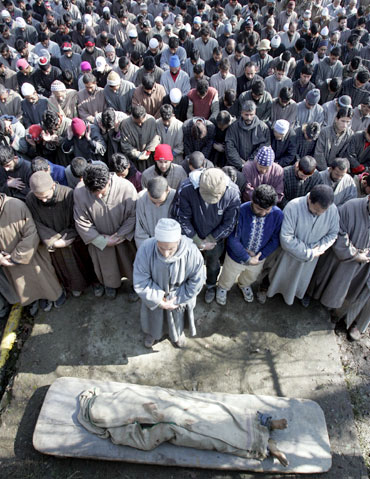 Villagers at the funeral of a LeT militant killed by the Indian Army in Sopore.