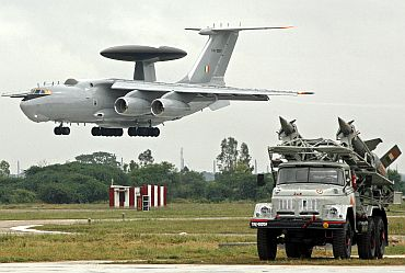 IAF surface-to-air missiles displayed as IL-76 aircraft prepares to land at Hindon air force station