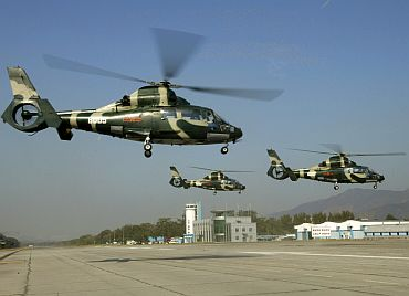 Chinese People's Liberation Army air force helicopters