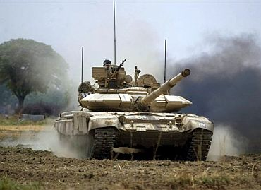 A T-90 Main Battle Tank takes part in a war game