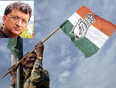 File photo shows a Congress worker putting up the party flag. (Inset) Dr Ramachandra Guha