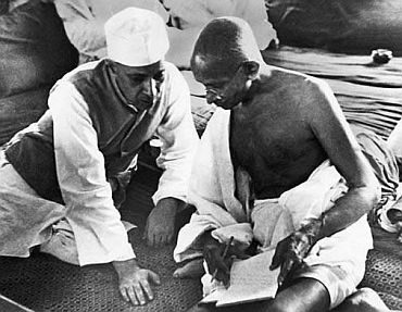 File photo show Nehru with Gandhi