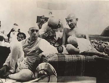 File photo shows Jawaharlal Nehru with Gandhi at a Congress national meet
