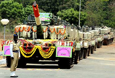 A batch of Arjun tanks being inducted into the Indian Army