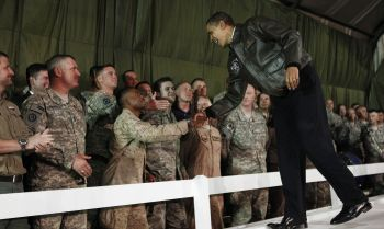 The US president meets with troops at Bagram Air Force Base in Kabul