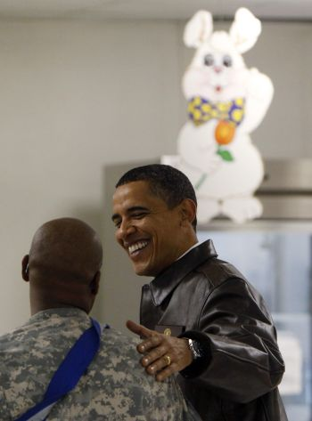 Obama speaks with the troops at Bagram Air Force Base in Kabul