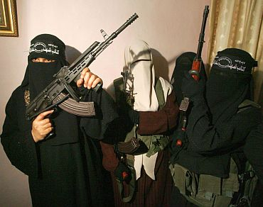 File photo shows female Palestinian suicide bombers attending a news conference in