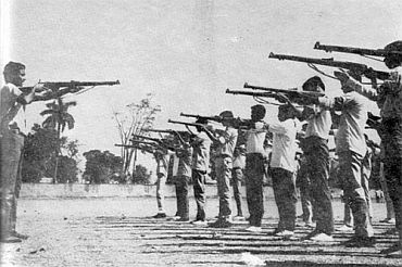 File photo shows Bangladeshi rebels undergoing training