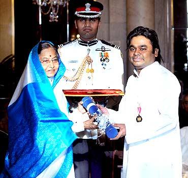 President presenting Padma Bhushan Award to music maestro A R Rahman