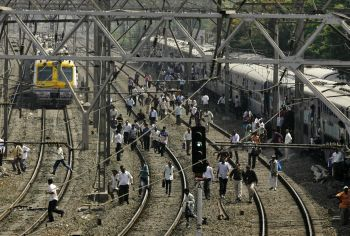 Train services remained stalled in Mumbai on Tuesday