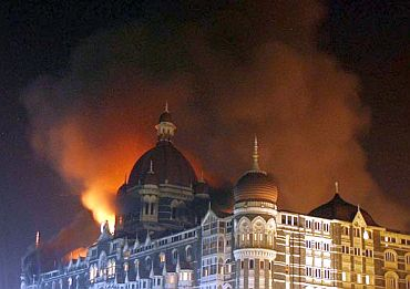 The Taj Hotel on fire during the attack