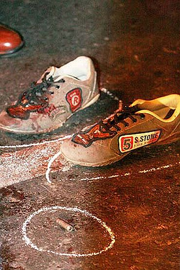 The shoes of a killed terrorist and a spent bullet at a 26/11 attack site