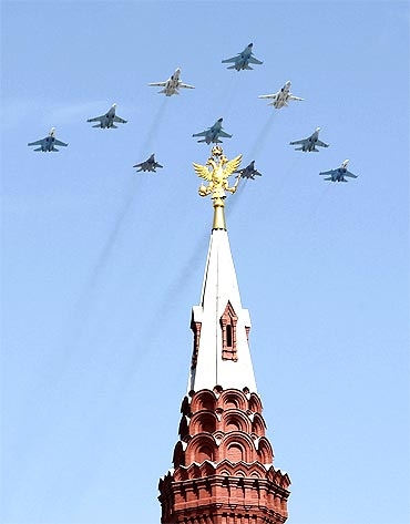 Russian military aircraft fly over Red Square