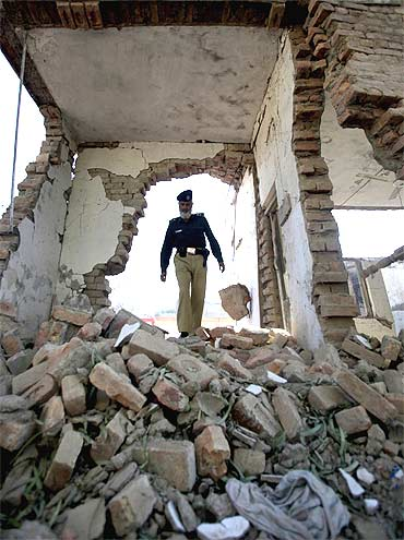 A police checkpost in Peshawar that was attacked by a Taliban bomber