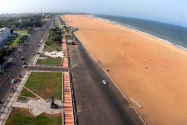 An aerial view of Marina beach in Chennai