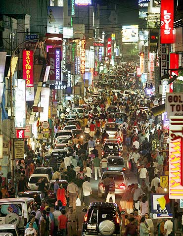 A view of Commercial Street in Bengaluru