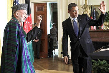 US President Barack Obama with Afghanistan President Hamid Karzai