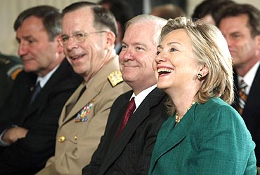 Hillary Clinton, Robert Gates and Chairman of the Joint Chiefs of Staff Admiral Mike Mullen