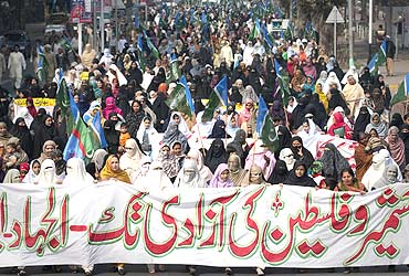 Supporters of Jamaat-e-Islami at a rally to mark Kashmir Solidarity Day in Lahore