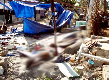 The destruction at a makeshift field hospital in Mullivaikal
